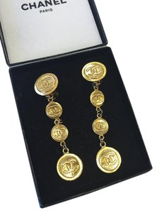 Chanel Chanel Vintage CC Medallion Clip Earrings