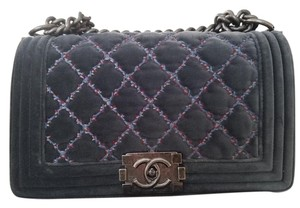 Chanel Leather Chain Date Night Velvet Cross Body Bag