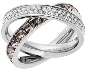 Michael Kors Michael Kors Silver-Tone Pave and Square-Cut Crystal Crisscross Ring: MSRP $145