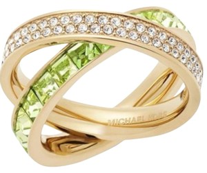 Michael Kors Michael Kors Gold-Tone Pave and Square-Cut Crystal Crisscross Ring: MSRP $145