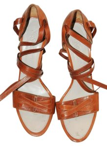 Saint Laurent Leather Ysl Sandal Brown Sandals