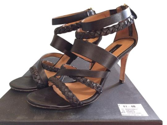 Ann Taylor Zipper Leather Braided Black Sandals