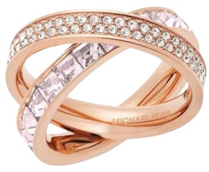 Michael Kors Michael Kors Rose Gold-Tone Pave and Square-Cut Crystal Crisscross Ring: MSRP $145