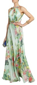 Matthew Williamson Gown Print Halter Chiffon Backless Dress