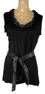 Valentino T-shirt Couture Leather Diamante T Shirt Black