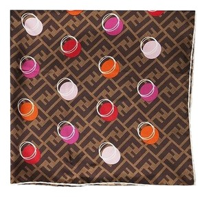 Fendi Zucca Logo Silk Scarf with colorful circles Includes Dust Bag