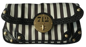 Henri Bendel Wristlet Stripes White and Brown Clutch