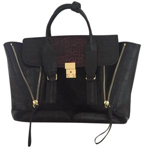 3.1 Phillip Lim Leather Satchel in Black and Red