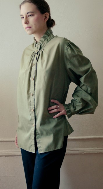 Remi Hammerer Boho Bohemian Vintage 1970s 70s Army Green Olive Green Drab Drab Green Army Drab Spring Fall Winter Victorian Steampunk Top olive/army green