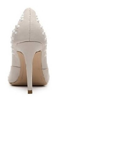"French Connection Pointed Toe Studded Detailing 3.5"" Covered Heel. White Pumps"