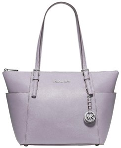 Michael Kors Lightweight Pocket Logo Charms Leather Tote in Purple