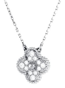 Van Cleef & Arpels Vintage 18k White Gold Alhambra Diamond Necklace with AGI Appraisal