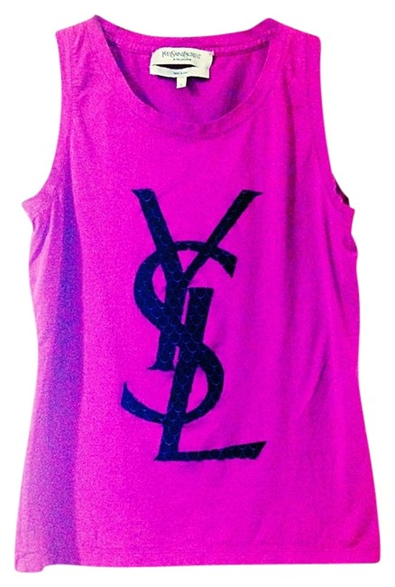 Item - Magenta Velour and Cotton Ysl Tank Top/Cami Size 6 (S)