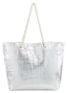 Saks Fifth Avenue Purse Carry On Travel Tote in Silver Bag with White Handles
