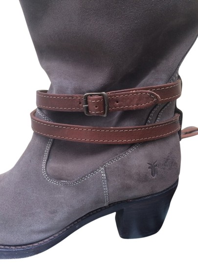 Frye Jane Strappy Taupe suede Boots