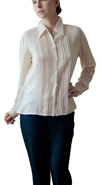 Ann Taylor Boho Bohemian Neutral Taupe Beige Camel Spring Summer Fall Business Attire Work Professional Embroidered Silk Button Top beige/taupe/neutral