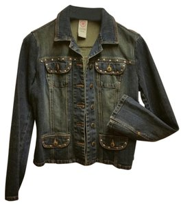 Bisou Bisou Leather Brass Studded Rhinestones Womens Jean Jacket