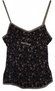 Gap Silk Lace Trim Sale Top Black/Taupe