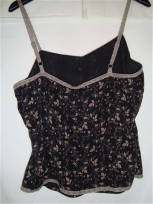 Gap Camisole Silk Lace Trim Sale Top Black/Taupe