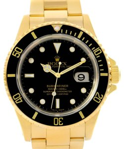 Rolex Rolex Submariner 18k Yellow Gold Black Dial Watch 16618 Box Papers