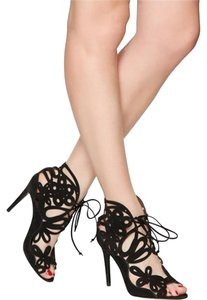 Tabitha Simmons Heels Cutout Suede Black Pumps