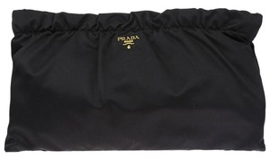 Prada Gathered Ruffled Satin Black Clutch