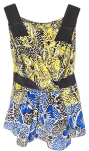 BCBGMAXAZRIA Top Blue/ Yellow/ Black