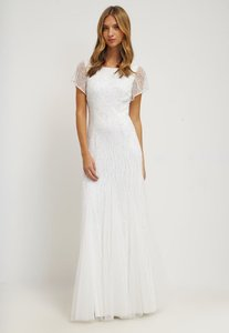 Adrianna Papell Short Sleeve Fully Beaded Gown With V-back Wedding Dress