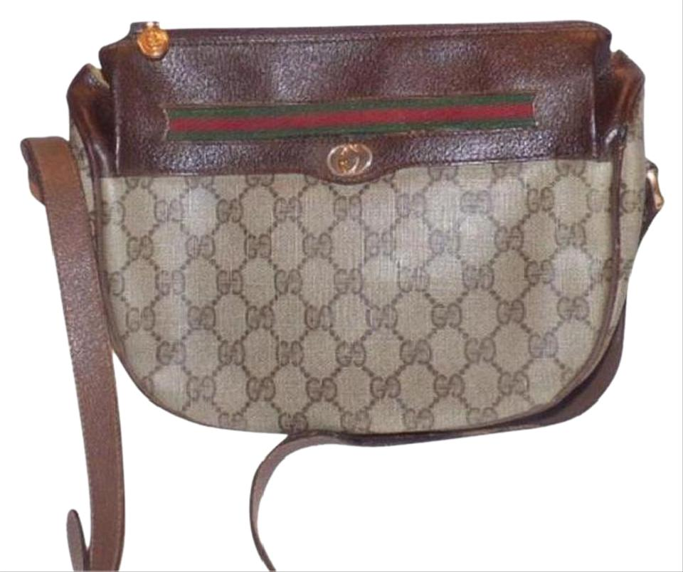 Gucci Vintage Body Designer Purses Brown Large G Logo Print Coated Canvas  and Brown Leather with A Red and Green Striped Accent Leather Coated Cross  ... 4a631de94ca7e