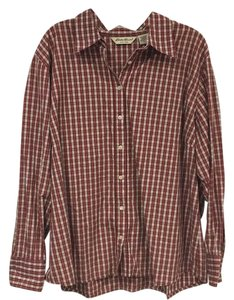 Eddie Bauer Button Down Shirt Red, White, Green
