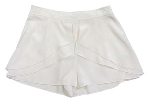 Tibi Ivory Silk Ruffled Shorts