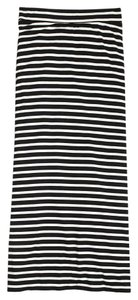 J.Crew Striped Stretchy Comfortable Maxi Skirt Ivory Stripe