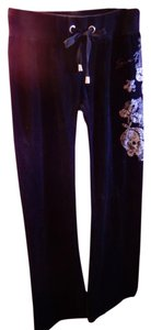 Seven7 Rose Velour Soft Lounge Workout Flare Pants BLACK
