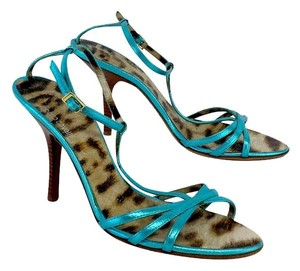 Roberto Cavalli Blue Metallic Strappy Sandal Sandals