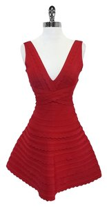 Hervé Leger short dress Nikayla Red Sleeveless on Tradesy