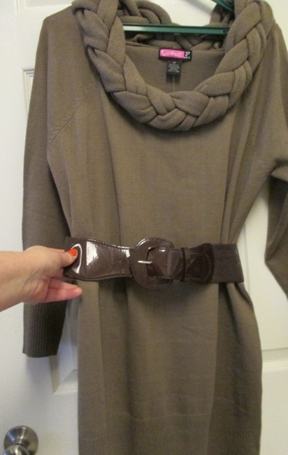 Brown Maxi Dress by Say What? 2x 18/20 Long Sleeve Fitted/Stretch Sweater