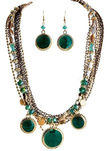 Other Layered Green Statement Necklace & Earrings