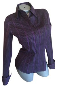 Thomas Pink Slim Fit French Cuffs Nwot Button Down Shirt Purple & Black