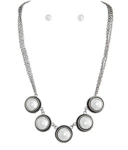 Other Domed Faux Pearl Necklace & Earrings