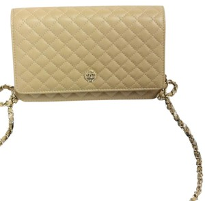 Chanel WOC Shoulder Evening Bag Quilted Beige Wallet On Chain
