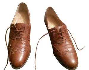 Salvatore Ferragamo Vintage Leather Narrow Timeless Stylish Lace Up Wing Tips Pre Owned Oxford Cognac Flats