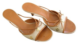 Chanel Beige or Tan with Brown leather trim Sandals