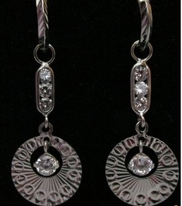 Other Sterling Silver CZ Diamond Cut Dangling Earring
