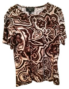 St. John T Shirt Brown/White multicolor