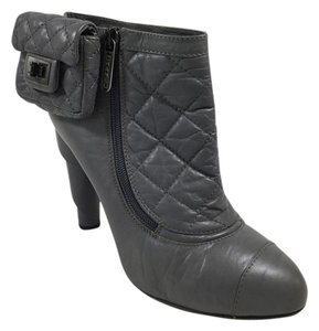 Chanel Ankle Leather Quilted Grey Boots