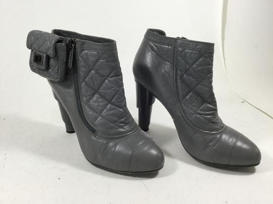 Chanel Mademoiselle Coin Purse Ankle Grey Boots