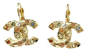 Chanel Authentic Brand New Chanel Gold CC Gemstone Lever Back Earrings