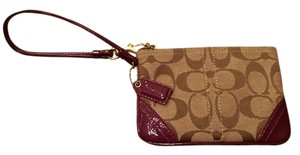Coach Leather Tan Classic Wristlet in Tan/Purple