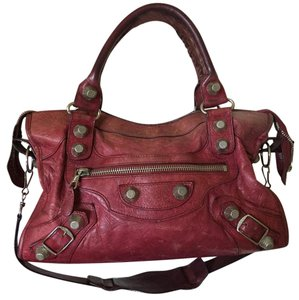 Balenciaga Calfskin Leather Leather Satchel in Red