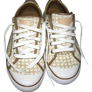 Coach Signature Canvas Leather Loafers Clearance Tan and White Athletic